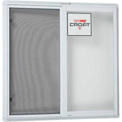 Croft Series 70 35 In. W. x 35 In. H. White Aluminum Sliding Window with Screen