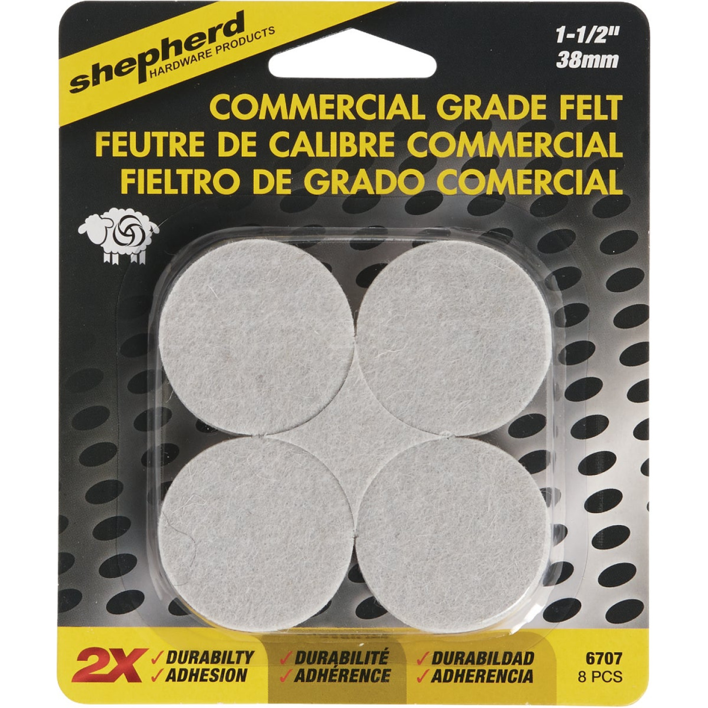 Shepherd 1-1/2 In. Beige Self-Adhesive Commercial Grade Felt Pads (8-Count) Image 2