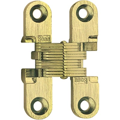 SOSS Satin Brass 1/2 In. x 1-1/2 In. Invisible Hinge, (2-Pack)