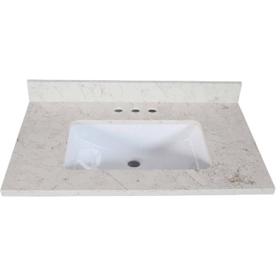 Design House 31 In. W x 22 In. D Giallo Quartz Vanity Top with Wave Bowl