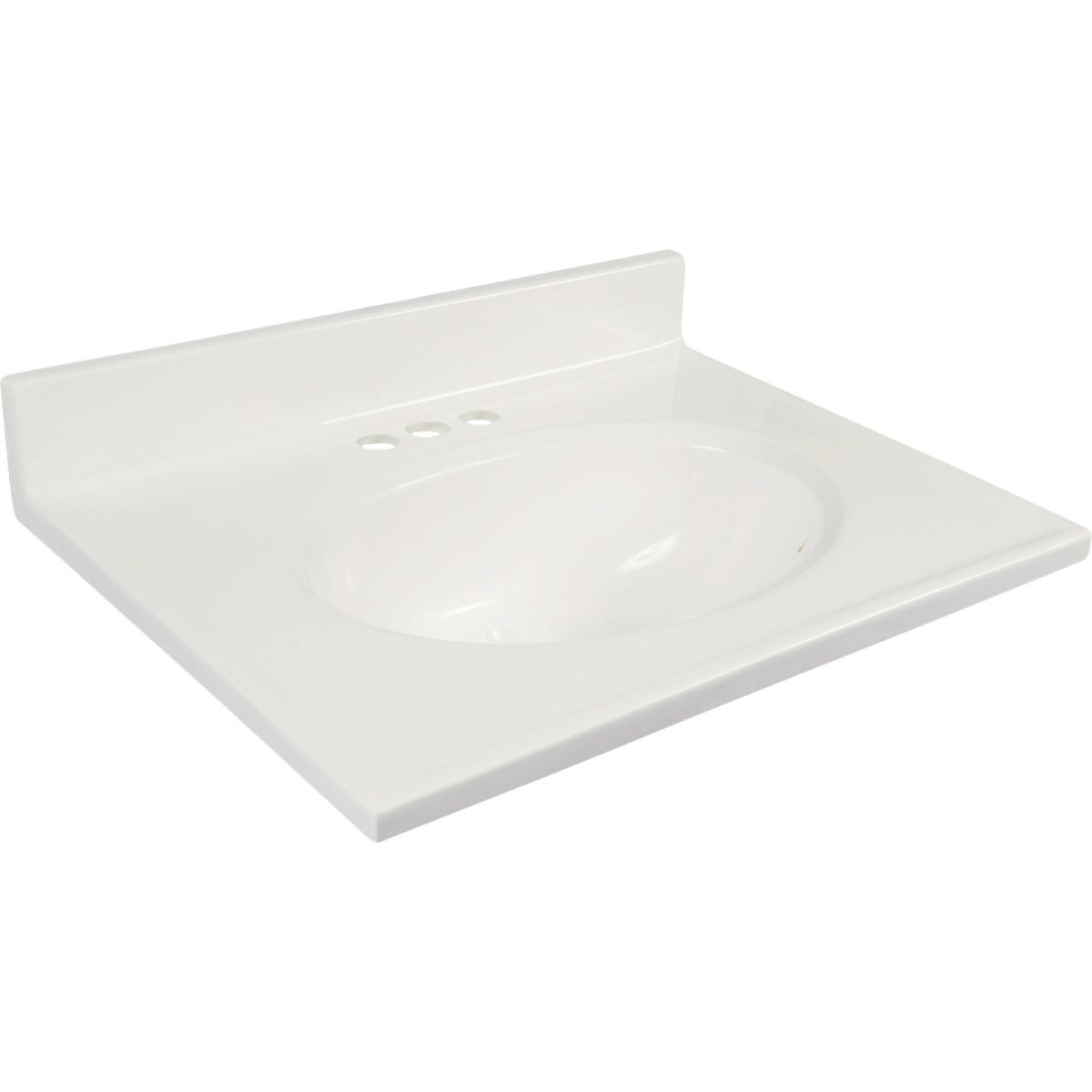Modular Vanity Tops 31 In. W x 19 In. D Solid White Cultured Marble Non-Drip Edge Vanity Top with Oval Bowl Image 1