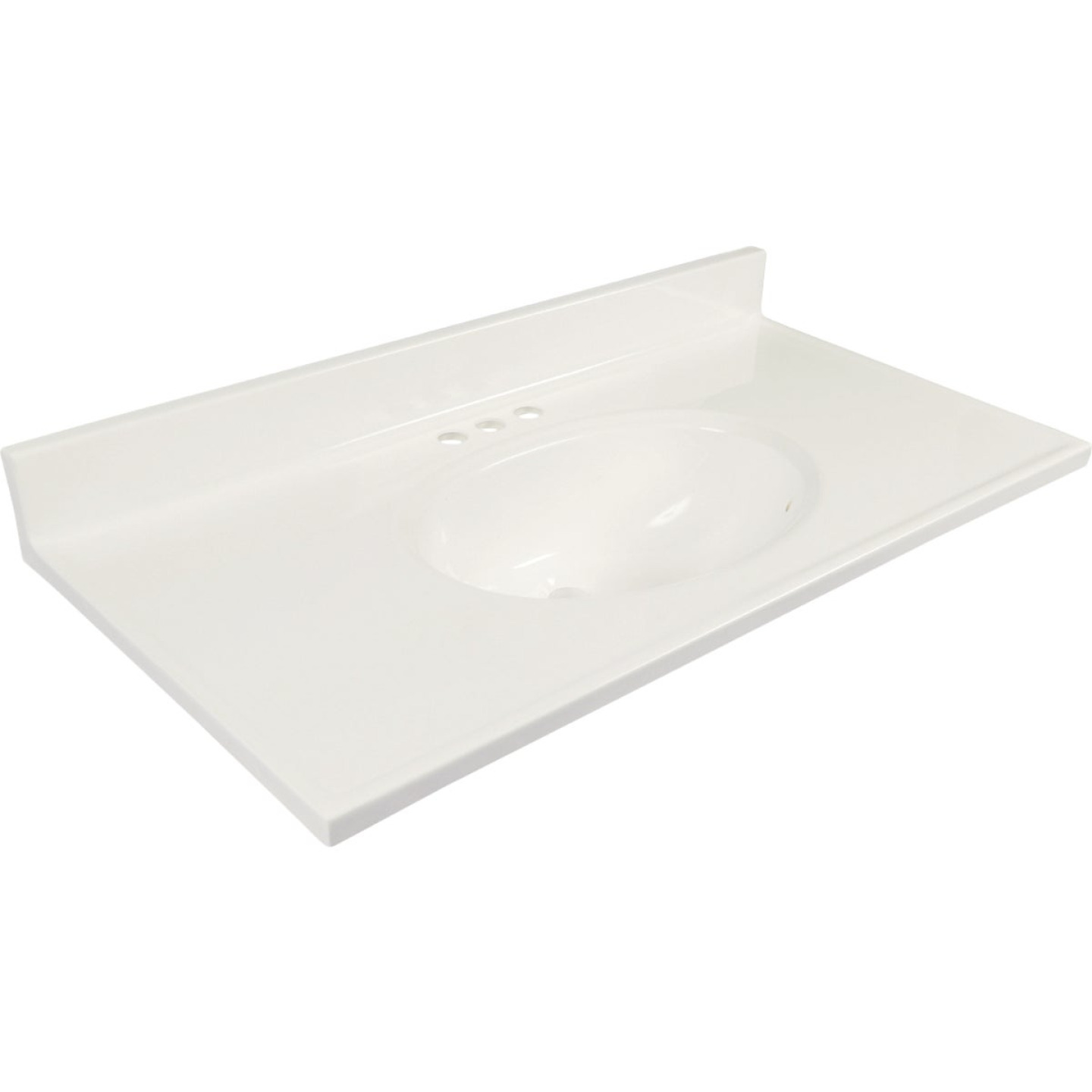 Modular Vanity Tops 37 In. W x 19 In. D Solid White Cultured Marble Non-Drip Edge Vanity Top with Oval Bowl Image 1