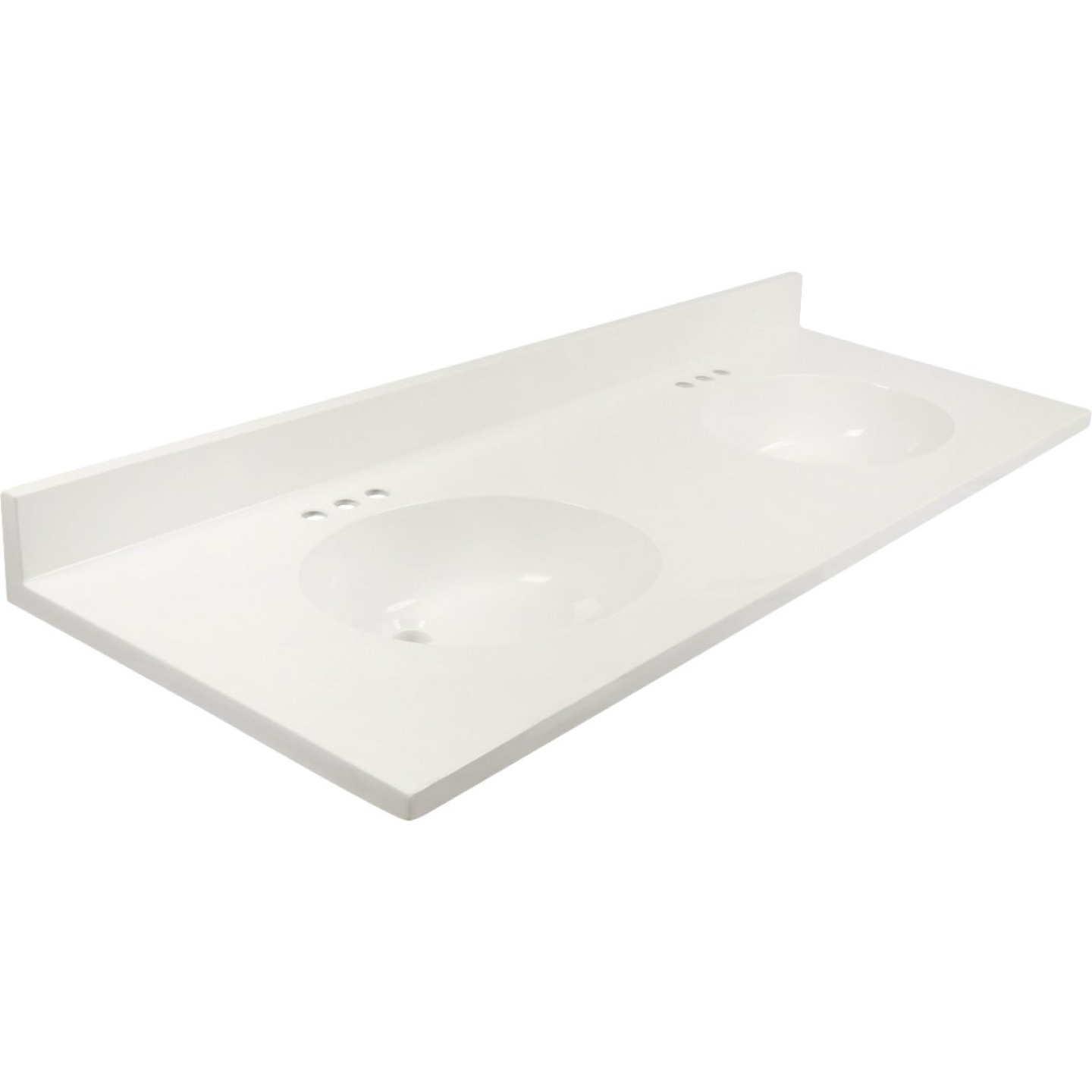 Modular Vanity Tops 61 In. W x 22 In. D Solid White Cultured Marble Flat Edge Vanity Top with Oval Bowl Image 1