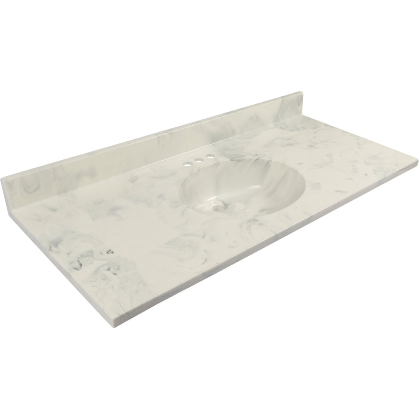 Modular Vanity Tops 49 In. W x 22 In. D Marbled Dove Gray Cultured Marble Flat Edge Vanity Top with Oval Bowl Image 1
