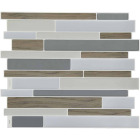 Smart Tiles 9.63 In. x 11.55 In. Glass-Like Plastic Backsplash Peel & Stick, Milano Argento Mosaic Image 1