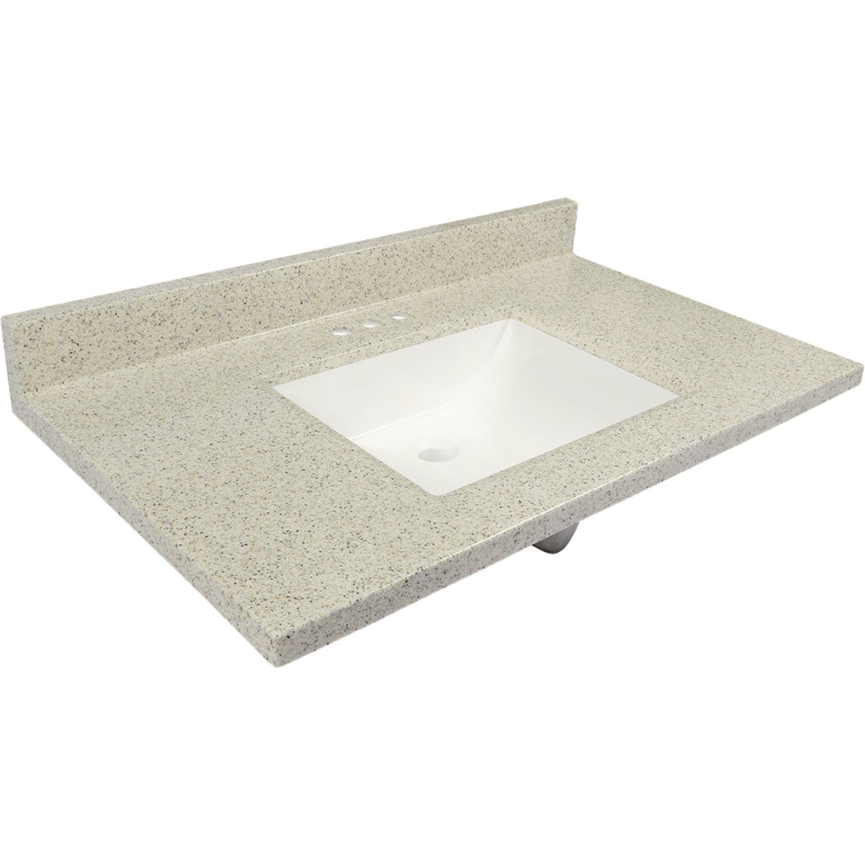 Modular Vanity Tops 37 In. W x 22 In. D Dune Cultured Marble Vanity Top with Rectangular Wave Bowl Image 1