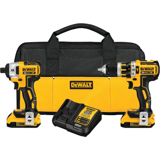 DeWalt 2-Tool 20V MAX XR Lithium-Ion Brushless Compact Hammer Drill & Impact Driver Cordless Tool Combo Kit