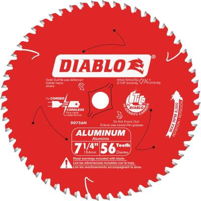 Diablo 7-1/4 In. 56-Tooth Aluminum Circular Saw Blade