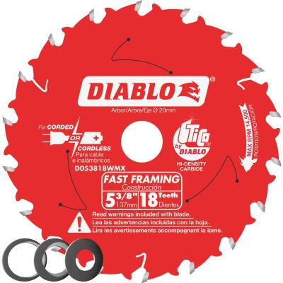 Diablo 5-3/8 In. 18-Tooth Fast Framing Circular Saw Blade with Bushings