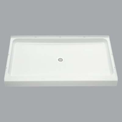Sterling Ensemble 60 In. W x 34 In. D Center Drain Shower Floor & Base in White