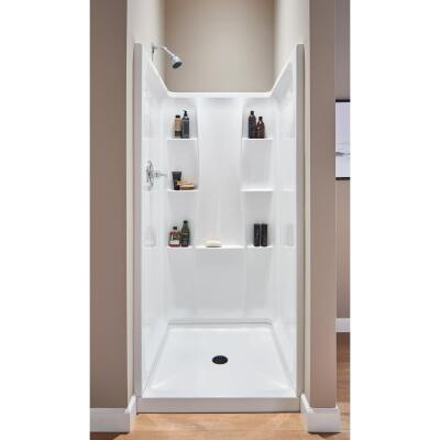 Delta Classic 400 3-Piece 36 In. L x 36 In. D Shower Wall Set in White