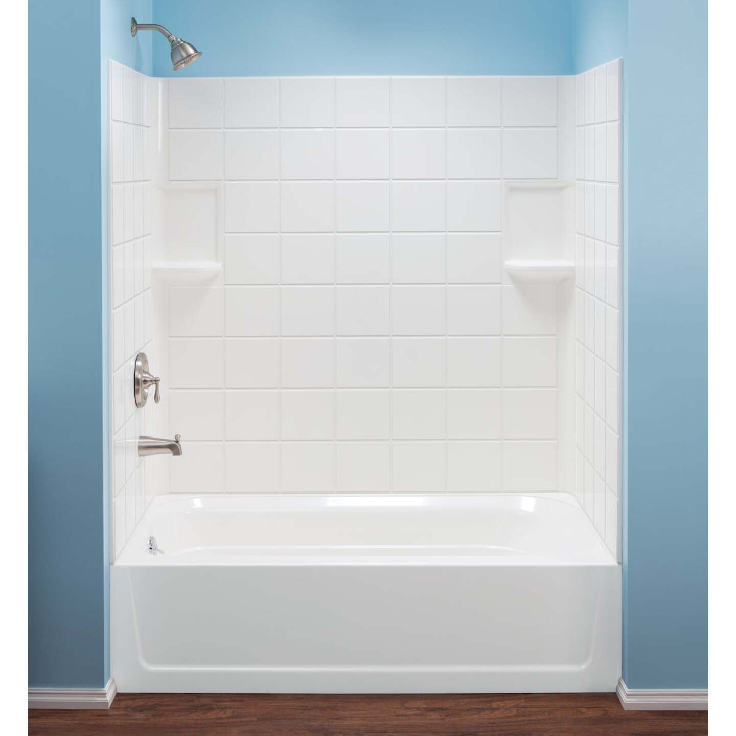 Mustee Topaz 3-Piece 60 In. L x 30 In. D (Bathtub) Tub Wall Kit in White (Tile Pattern) Image 1