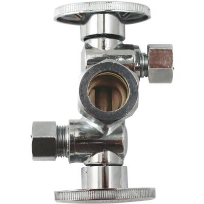 "Keeey 5/8"" OD x 3/8"" OD x 3/8"" OD Quarter Turn Dual Shut-Off/Dual Outlet Valve"