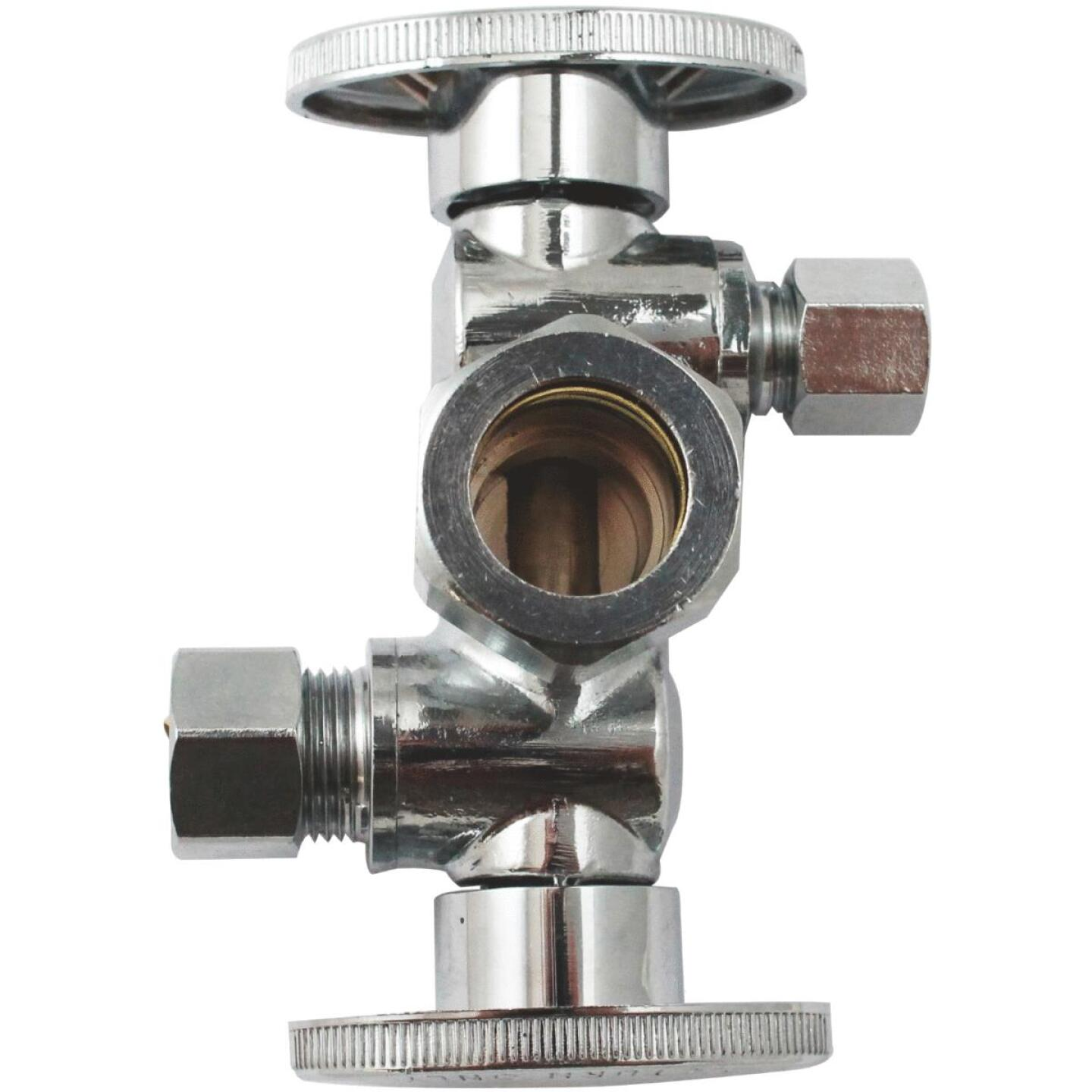 "Keeney 5/8"" OD x 3/8"" OD x 1/4"" OD Quarter Turn Dual Shut-Off/Dual Outlet Valve Image 1"