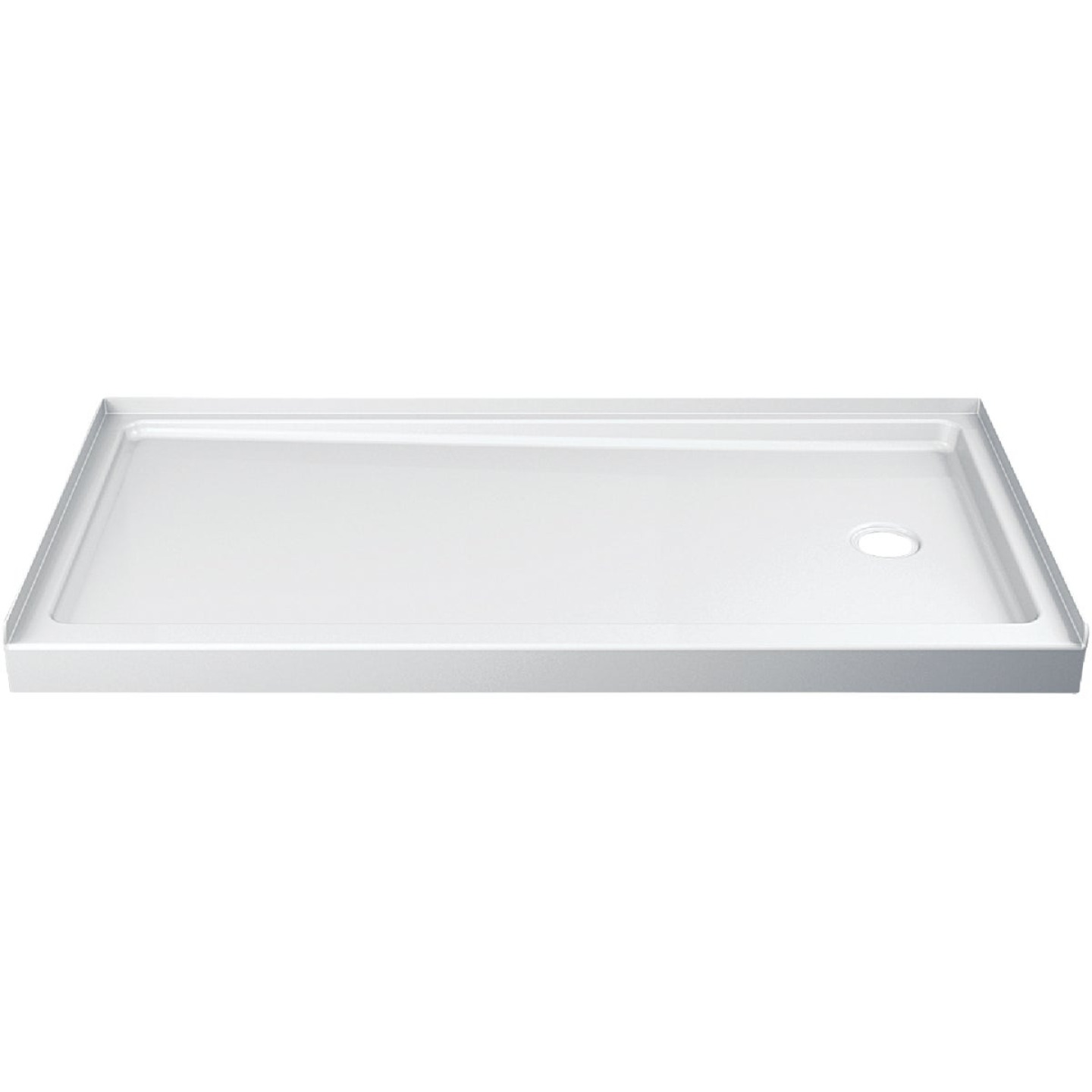 Delta Hycroft 60 In. W x 30 In. D Right Drain Shower Floor & Base in White Image 1