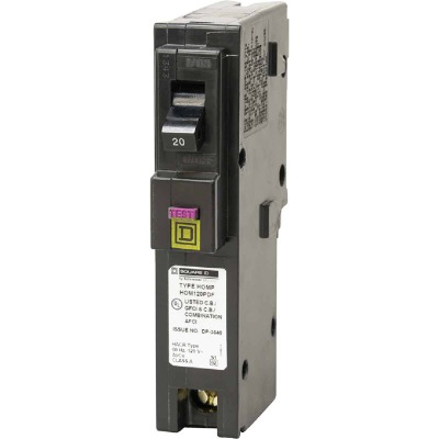 Square D Homeline 20A Single-Pole CAFCI Plug-On Neutral Dual Function Circuit Breaker