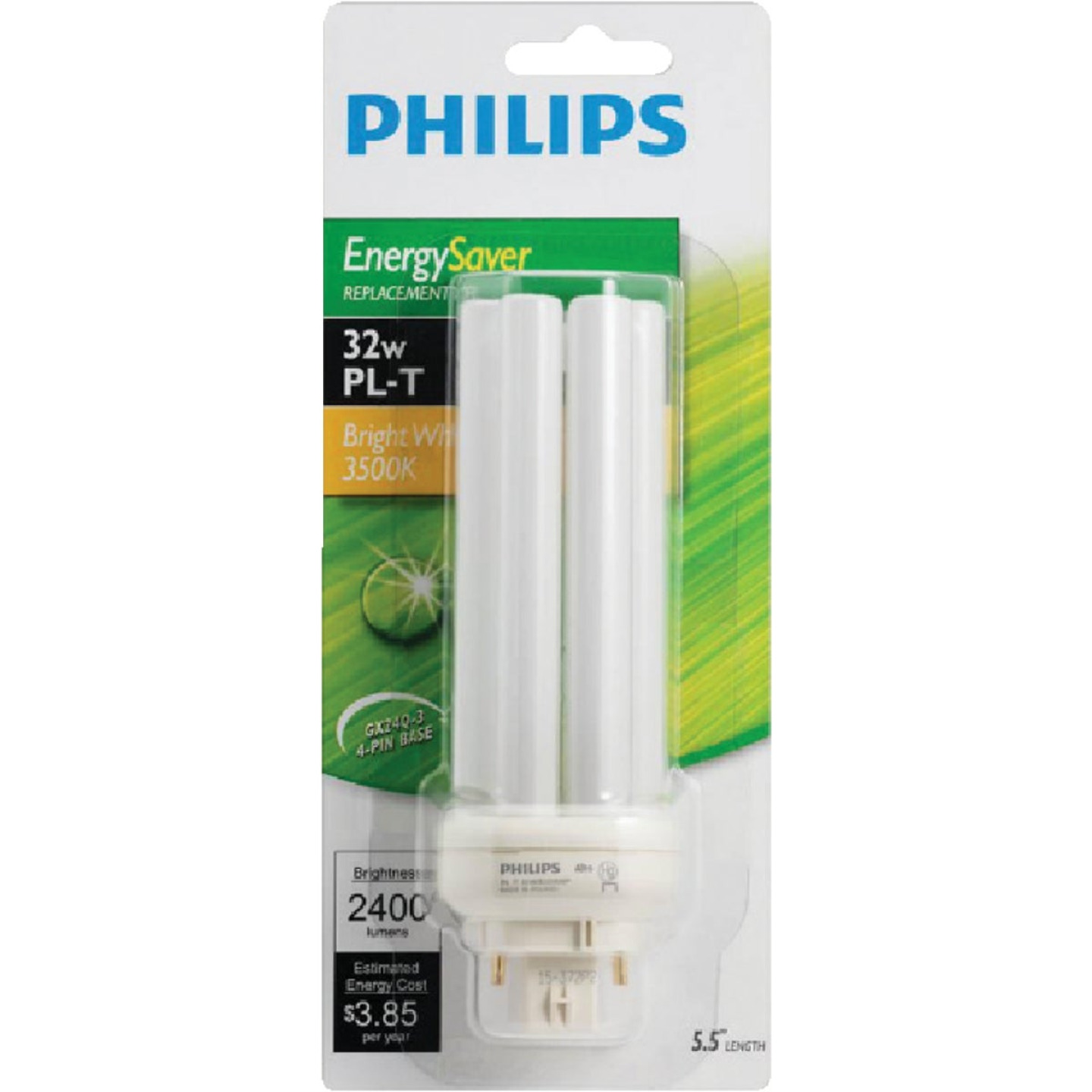 Philips 150W Equivalent Cool White GX24Q-3 Base PL-T CFL Light Bulb Image 2