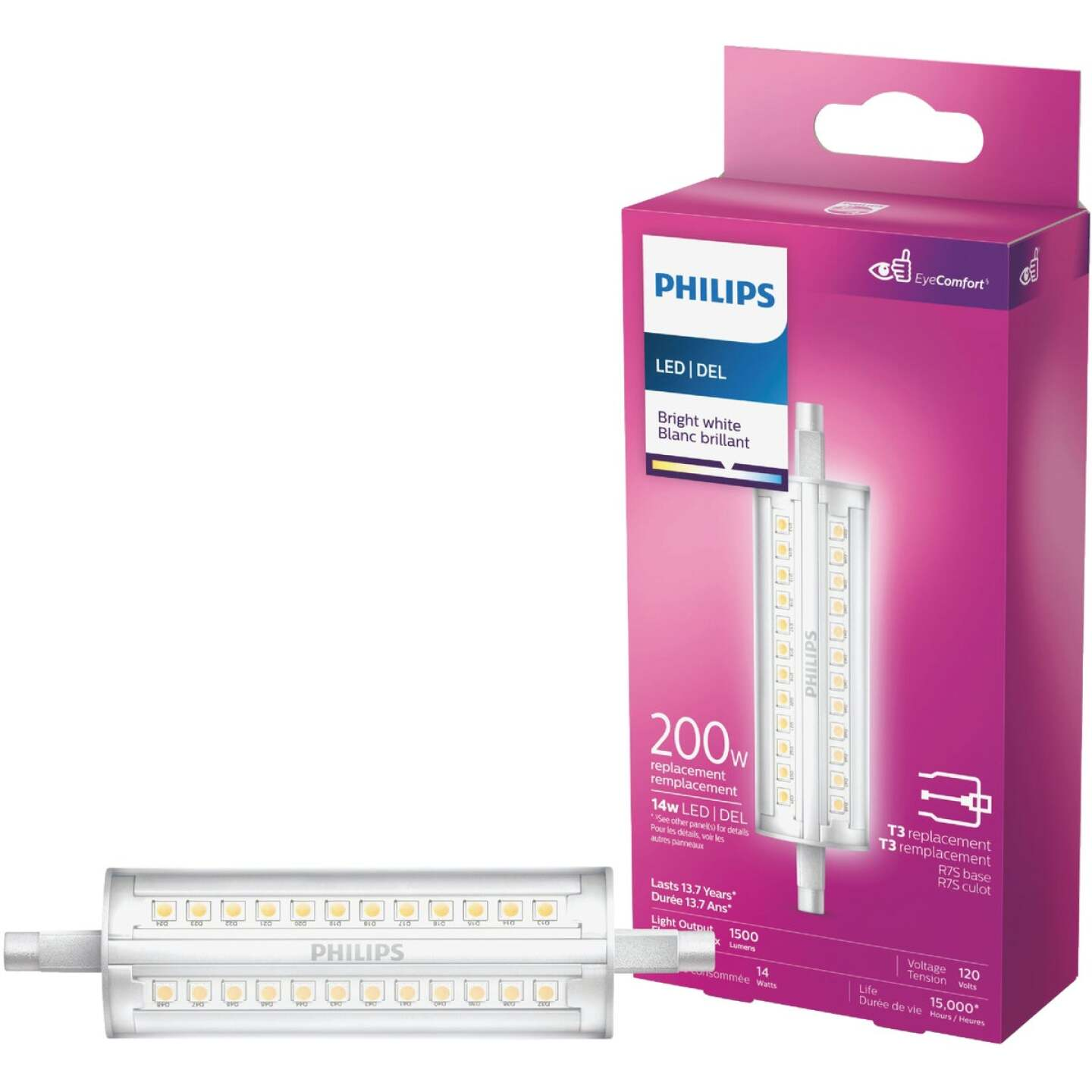 Philips 200W Equivalent Bright White T3 RSC Base LED Special Purpose Light Bulb Image 1