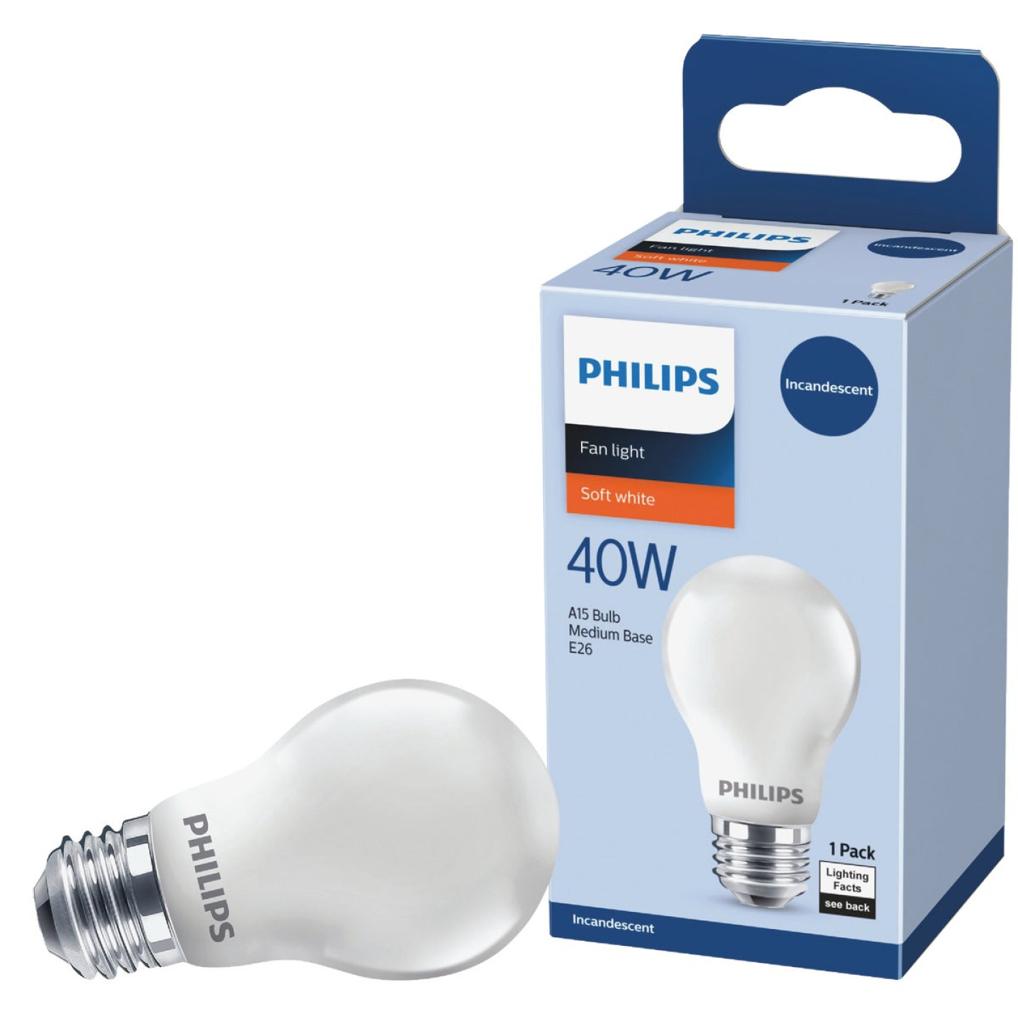 Philips DuraMax 40W Frosted Medium A15 Incandescent Ceiling Fan Light Bulb Image 1