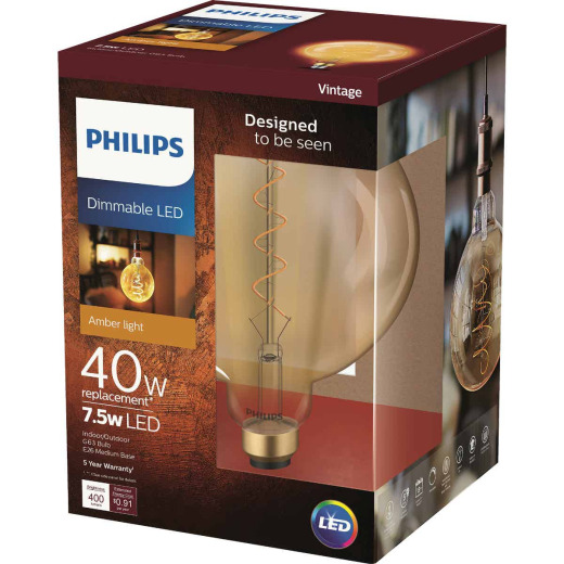 Philips 40W Equivalent Amber G63 Medium Dimmable LED Decorative Light Bulb