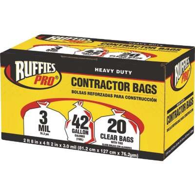Ruffies 42 Gal. Contractor Clear Trash Bag (20-Count)