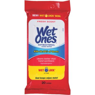 Wet Ones Antibacterial Disinfectant Travel Pack Hand Cleaning Wipes, (20 Ct.)