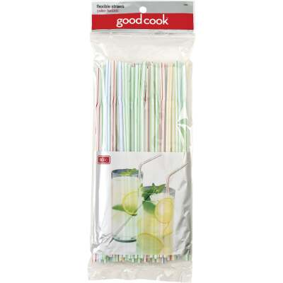 Goodcook 9 In. Plastic Flex Straw (50-Count)