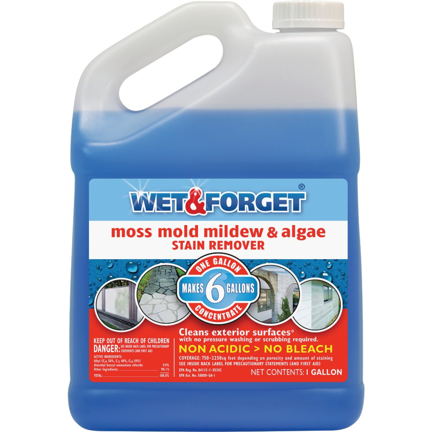 Wet & Forget 1 Gal. Liquid Concentrate Moss, Mildew, Algae, & Mold Stain Remover Image 1