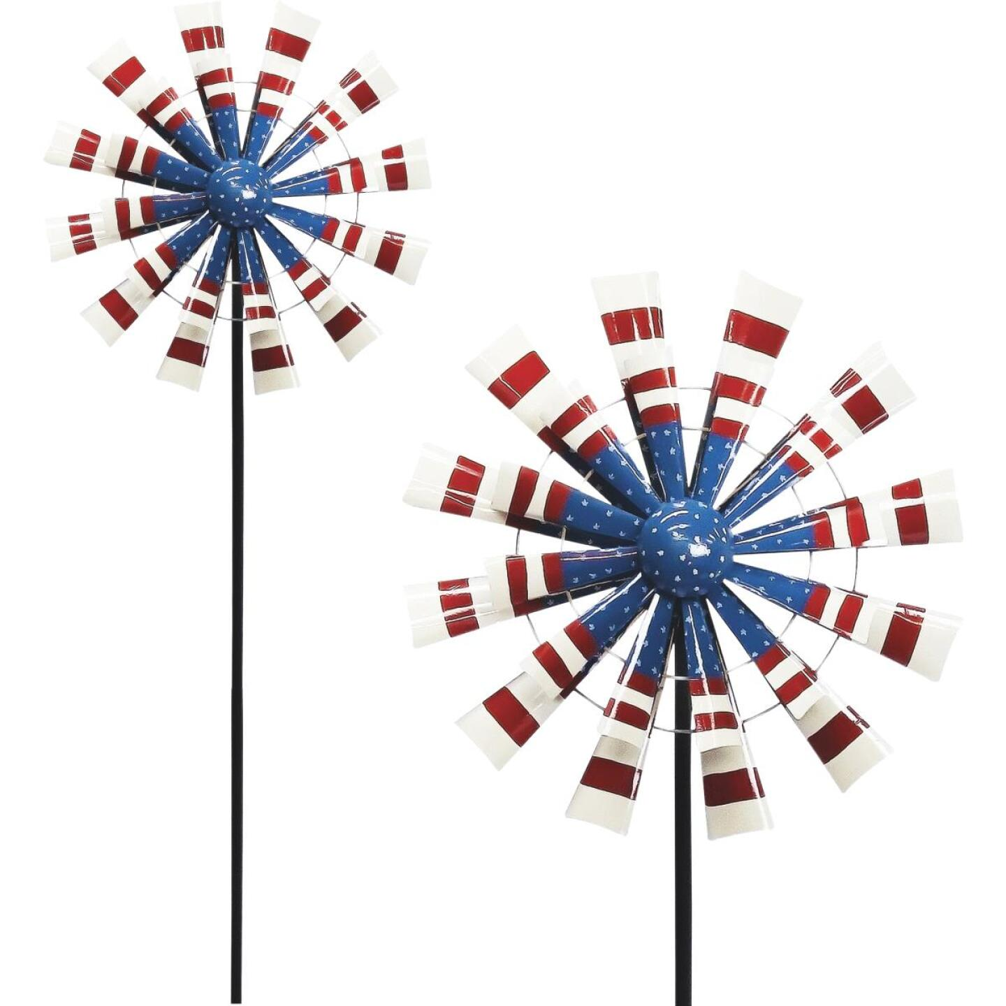 Alpine 75 In. H. Metal Patriotic Windmill Garden Stake Lawn Ornament Image 1