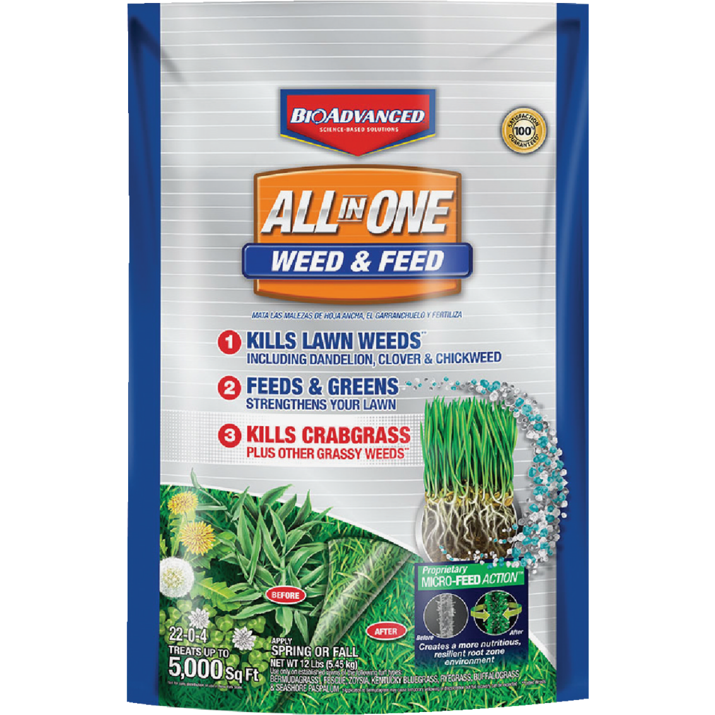 BioAdvanced All-In-1 12 Lb. 5000 Sq. Ft. 22-0-4 Weed & Feed Lawn Fertilizer with Weed Killer Image 1