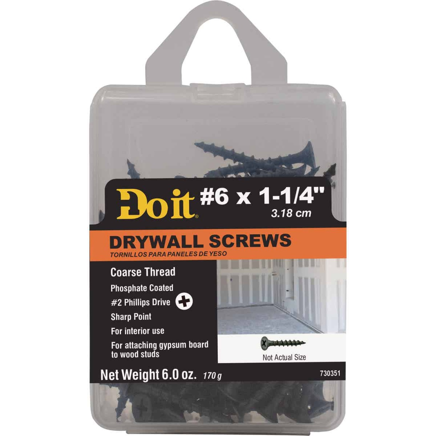 Do it #6 x 1-1/4 In. Coarse Thread Phosphate Drywall Screw Image 1