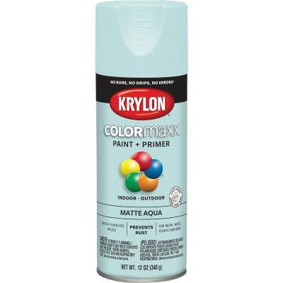 Krylon ColorMaxx 12 Oz. Matte Paint + Primer Spray Paint, Aqua