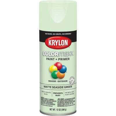 Krylon ColorMaxx 12 Oz. Matte Paint + Primer Spray Paint, Seaside Green