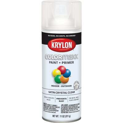 Krylon ColorMaxx 11 Oz. Satin Paint + Primer Spray Paint, Crystal Clear