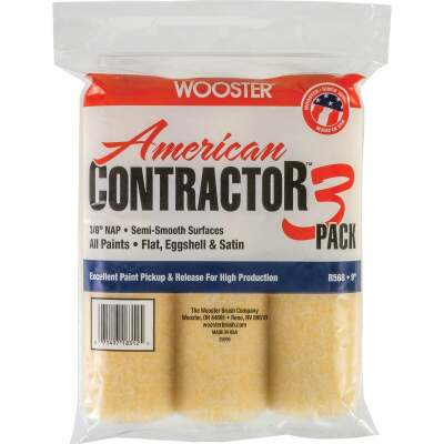 Wooster American Contractor 9 In. x 3/8 In. Knit Fabric Roller Cover (3-Pack)