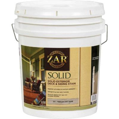 ZAR Solid Deck & Siding Stain, Medium Tint Base, 5 Gal.