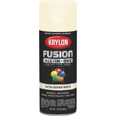 Krylon Fusion All-In-One Satin Spray Paint & Primer, Dover White