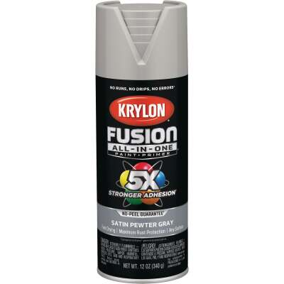 Krylon Fusion All-In-One Satin Spray Paint & Primer, Pewter Gray