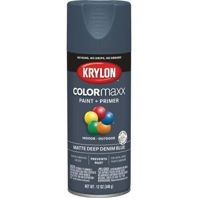 Krylon Colormaxx Matte Spray Paint & Primer, Denim Blue