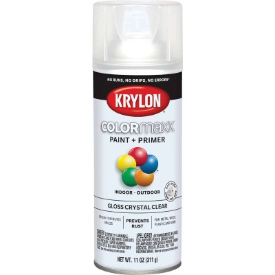 Krylon ColorMaxx 11 Oz. Gloss Paint + Primer Spray Paint, Crystal Clear