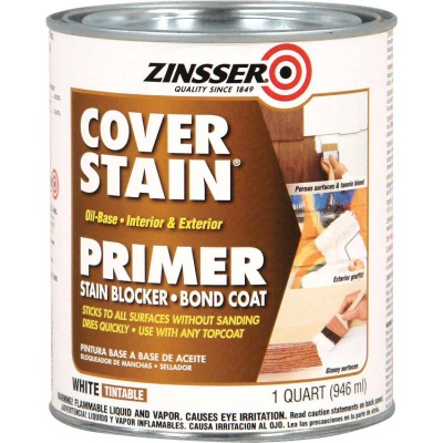 Zinsser Cover-Stain Oil-Base Interior/Exterior Sealer And Stain-Killer Primer, White, 1 Qt.
