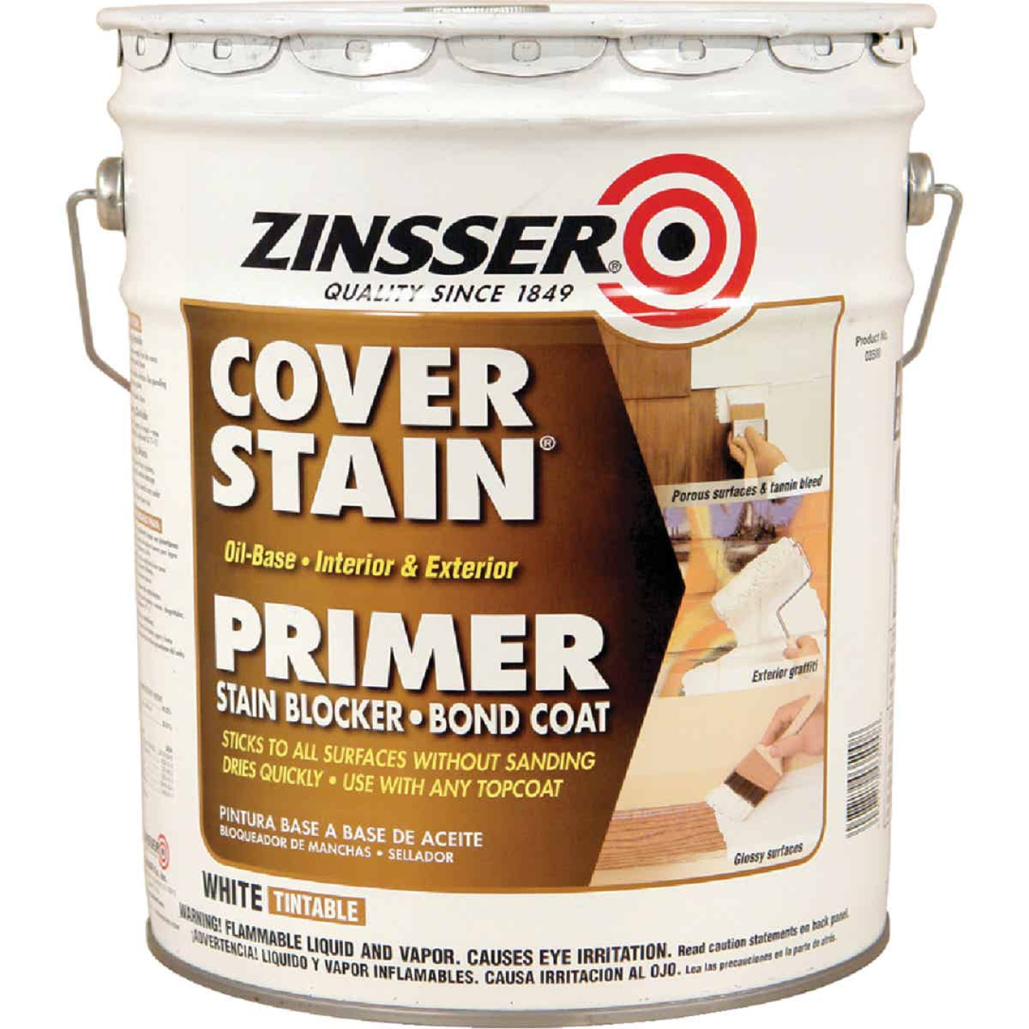 Zinsser Cover-Stain Oil-Base Interior/Exterior Sealer And Stain-Killer Primer, White, 5 Gal. Image 1