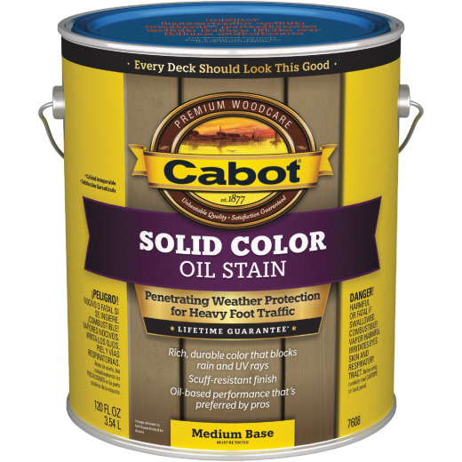 Cabot VOC Solid Color Oil Deck Stain, Medium Base, 1 Gal.