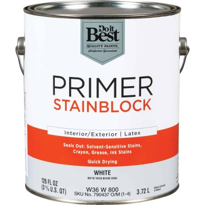Do it Best Latex Interior/Exterior Stain Blocking Primer, White, 1 Gal.