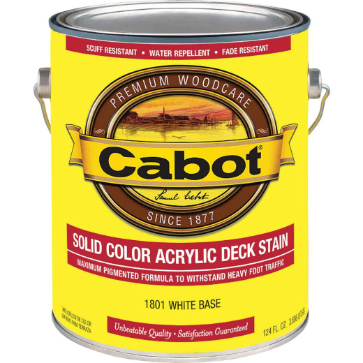 Cabot Solid Color Acrylic Deck Stain, White Base, 1 Gal.