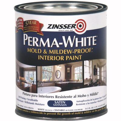 Zinsser Perma-White White-Tintable Satin Quart Mildew Paint