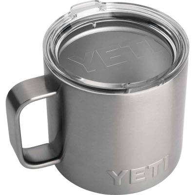Yeti Rambler 14 Oz. Silver Stainless Steel Insulated Mug