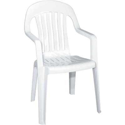 Adams White Resin High Back Stackable Chair