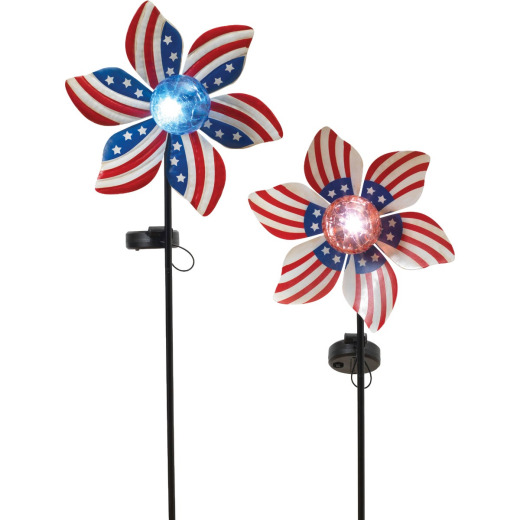 Gerson Spring GIL Metal Wind Spinner & Crackle Glass Solar Globe 34.5 In. H. American Stake Light